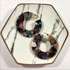 Cardi Multi-Colored Thick Circle Stud Hoop Earring